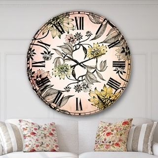 Designart 'Hand drawn summer flowers' Floral Large Wall CLock