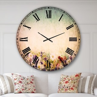 Designart 'Soft Flowers in Spring Background' Floral Wall CLock