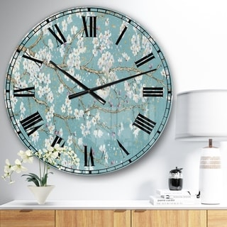 Designart 'Blue April Tree' Traditional Large Wall CLock