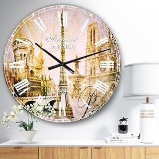 Designart 'Old Beautiful Paris' Cityscape Digital Oversized Wall CLock