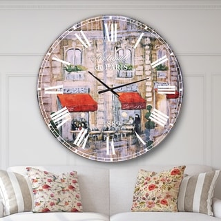 Designart 'Love in Paris II' Romantic French Country Large Wall CLock