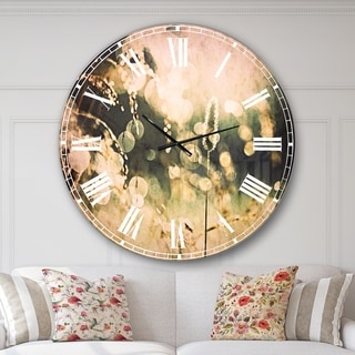 Designart 'Sunny Meadow with Wild Flowers' Flower Large Wall CLock
