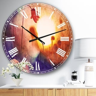 Designart 'Beautiful Blurred Flowers At Sunset' Floral Large Wall CLock