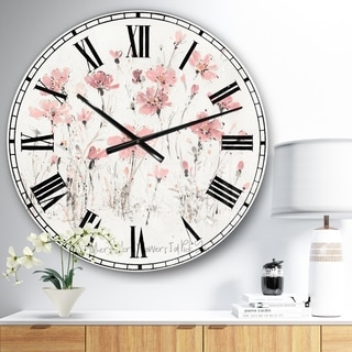 Designart 'Wildflowers III ' Traditional Large Wall CLock