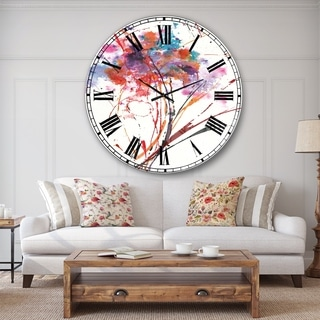 Designart 'Abstract Red Flowers' Traditional Large Wall CLock