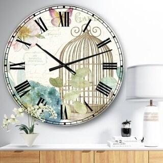 Designart 'Vintage Floral Birdcage II' Traditional Wall CLock
