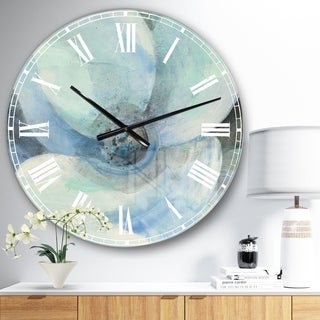 Designart 'Watercolor Moonlight Magnolia II' Farmhouse Large Wall CLock