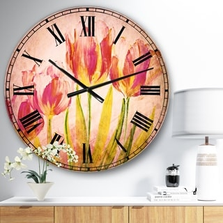 Designart 'Red Tulips' Floral Large Wall CLock