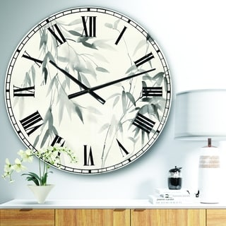 Designart 'Bamboo Leaves II' Farmhouse Large Wall CLock