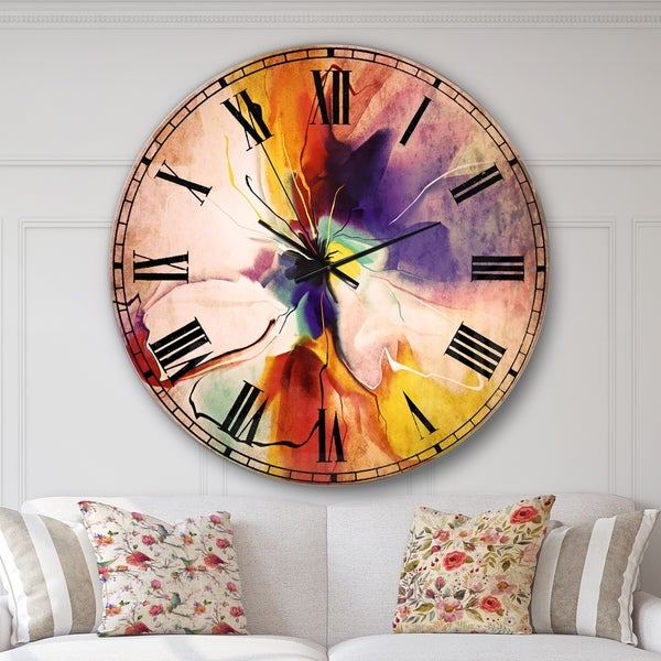 Designart 'Creative Flower in Multiple Colors' Floral Wall CLock