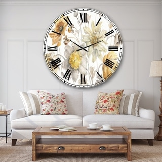 Designart 'Fields of Gold Watercolor Flower VII' Traditional Large Wall CLock