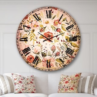 Designart 'Hand drawn floral wreath' Floral Large Wall CLock