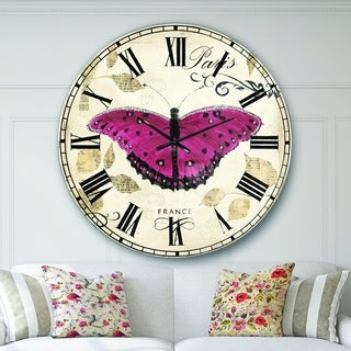 Designart 'Red Farmhouse Butterfly' Farmhouse Large Wall CLock