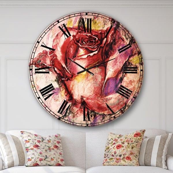 Designart 'Red Rose Illustration' Floral Large Wall CLock
