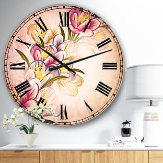 Designart 'Vector Purple Flowers' Floral Large Wall CLock