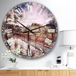 Designart 'Bridge in Rain' Landscape Photo Large Wall CLock