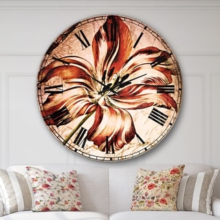 Designart 'Red Floral Pattern with Butterfly' Floral Large Wall CLock