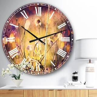 Designart 'Beautiful Flowers in Meadow' Floral Wall CLock