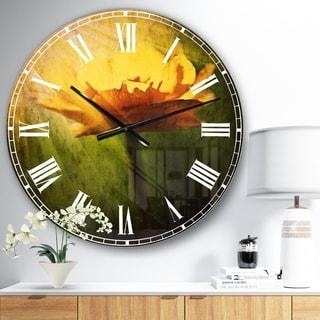 Designart 'Large Yellow Flower in Spotlight' Flower Wall CLock