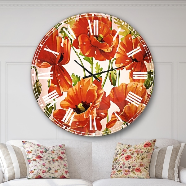 Designart 'Seamless Pattern of Red Poppies' Floral Large Wall CLock