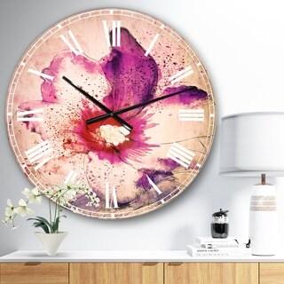 Designart 'Beautiful Pink Flower Watercolor' Floral Large Wall CLock