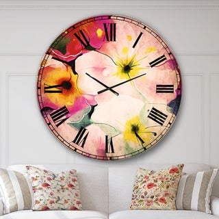 Designart 'Colorful Watercolor Floral Pattern' Floral Large Wall CLock