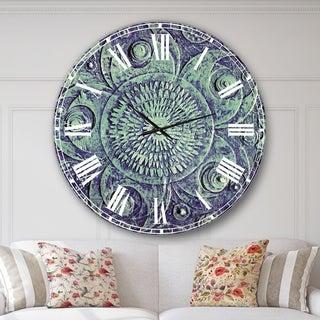Designart 'Circle Blue Flowers' Digital Art Large Wall CLock