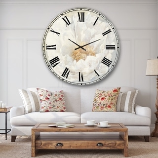 Designart 'White Serene Peony' Cottage Large Wall CLock