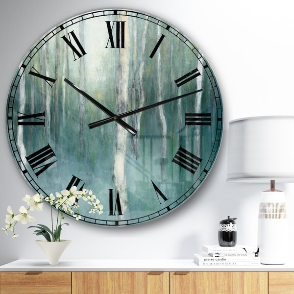 Designart 'Green Forest Dream' Traditional Landscape Large Wall CLock