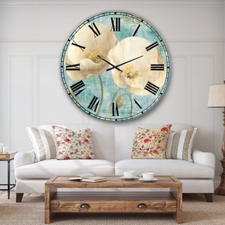 Designart 'bouquet Poppies on Paisley II' Cottage Wall CLock