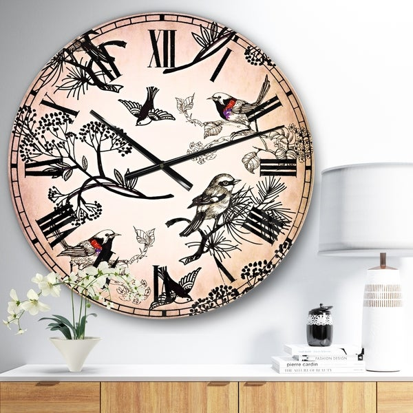 Designart 'Floral pattern with birds' Floral Wall CLock