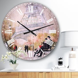 Designart 'Love in Paris VI' Romantic French Country Large Wall CLock