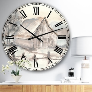 Designart 'Farmhouse Barn Grey VII' Modern Farmhouse Large Wall CLock