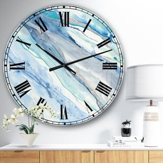 Designart 'Blue Silver Spring II' Modern Lake House Oversized Wall CLock
