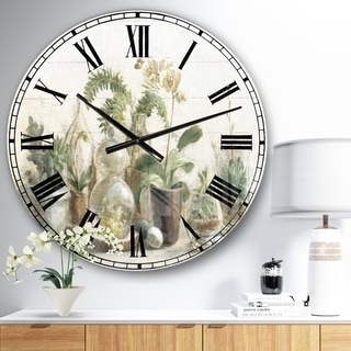 Designart 'Greenhouse Orchids ' Floral Cottage Large Wall CLock