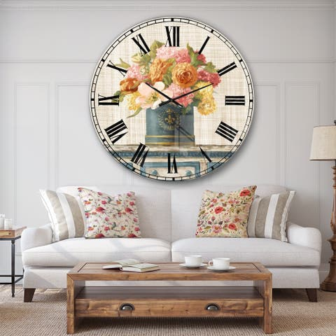 Designart 'Tulips in Teal and Gold Hatbox on Linen' Cabin & Lodge Wall CLock