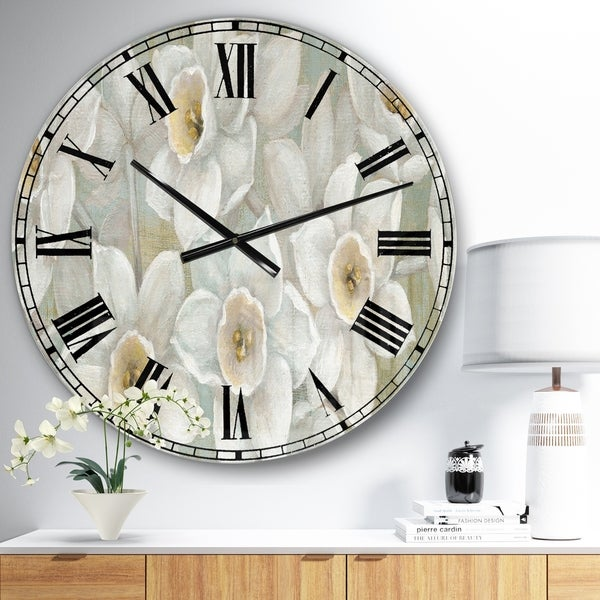 Designart 'Pure Pastel White flowers' Farmhouse Wall CLock