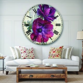 Designart 'Red Anemone Flower' Floral Farmhouse Large Wall CLock