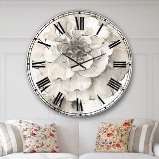Designart 'Indigold Grey Peonies I' Farmhouse Large Wall Clock