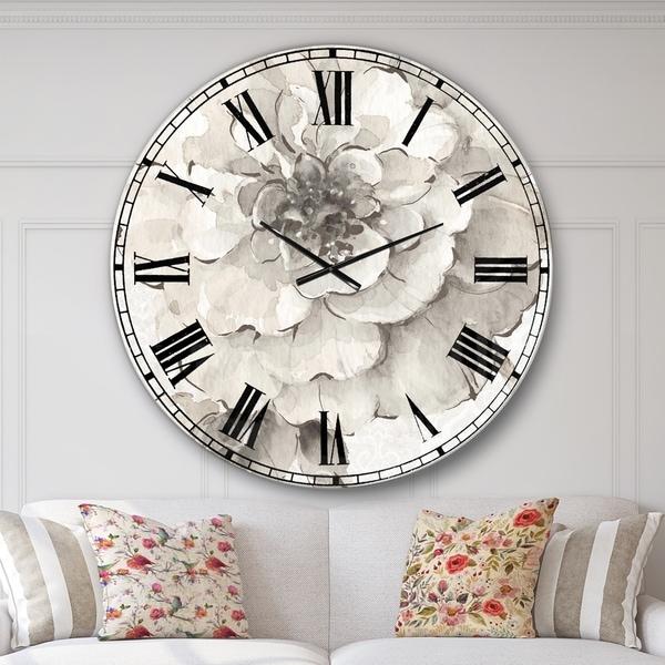 Designart 'Indigold Grey Peonies I' Farmhouse Large Wall Clock. Opens flyout.