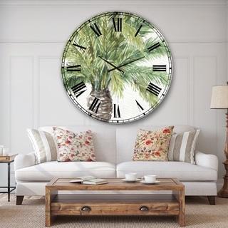 Designart 'Mixed Botanical Greens palms V' Farmhouse Large Wall CLock