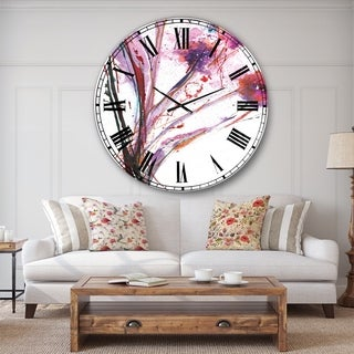 Designart 'Abstract Purple Flowers' Traditional Oversized Wall CLock