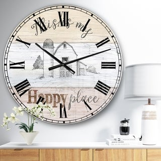 Designart 'Farmhouse Moment Barns' Farmhouse Large Wall CLock