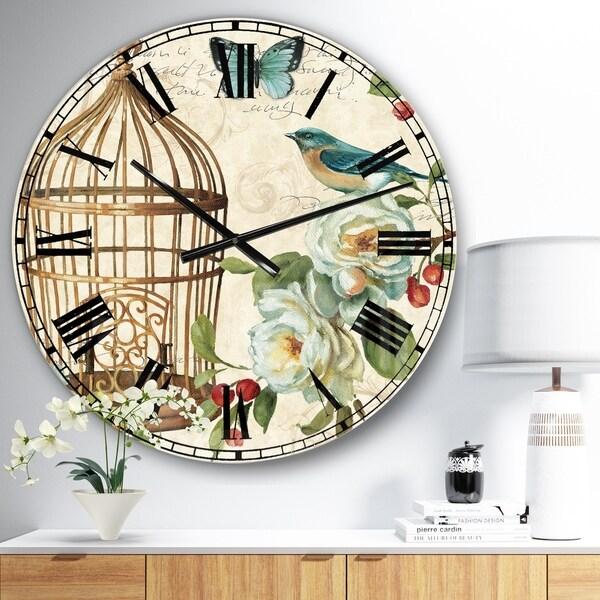 Designart 'Blue Cottage Bird, Birdcage and Apple Blossoms I' Floral and botanical Large Wall CLock