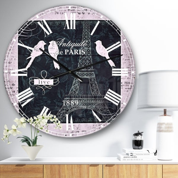 Designart 'Paris Vintage Collage II' French Country Wall CLock