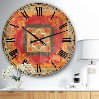 Designart 'Moroccan Orange Tiles Collage II' Bohemian Chic Large Wall CLock