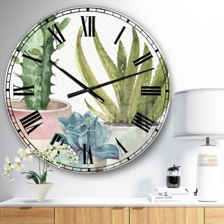 Designart 'Mixed Green Element III' Cottage Oversized Wall CLock