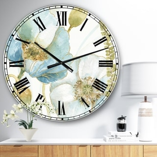 Designart 'My Greenhouse Cottage Flowers III' Traditional Large Wall CLock