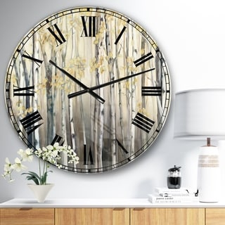 Designart 'Golden Birch Forest I' Landscapes Large Wall CLock