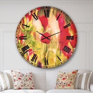 Designart 'Red Poppies on Green Background' Flower Wall CLock